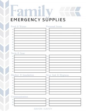 blank emergency supplies printable to let you fill in those items unique to your family