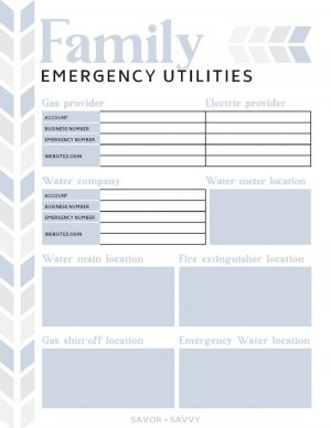emergency utilities printable that includes gas, water and electric company contacts as well as the location of emergency shutoff valves in your home
