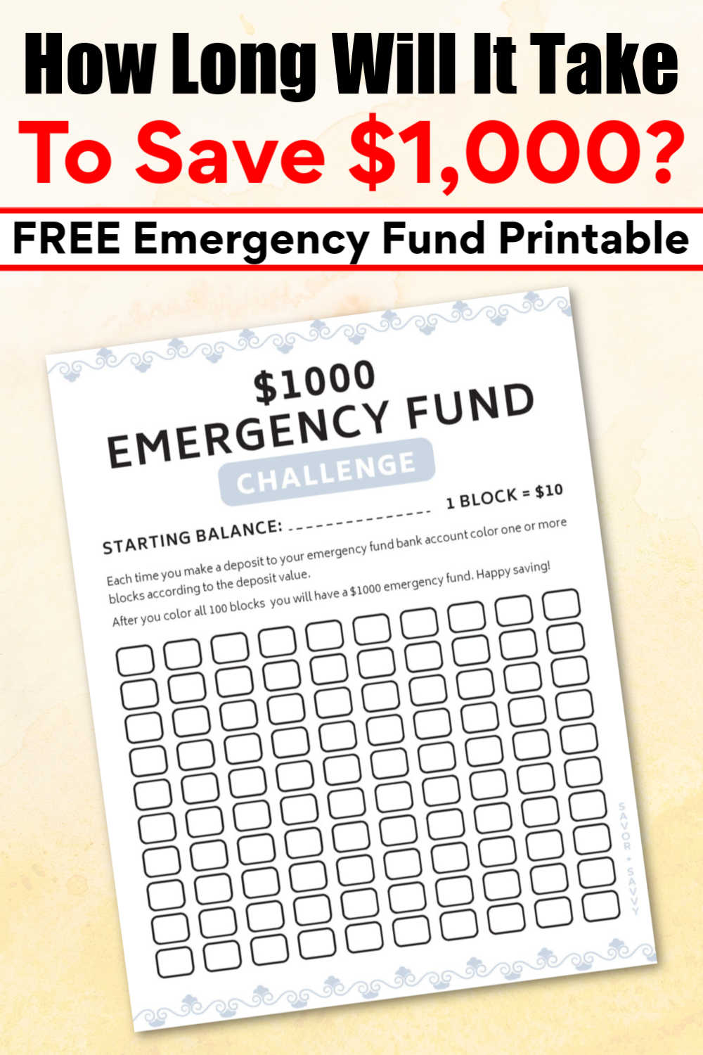 $1000 Emergency Fund Challenge and Free Printable
