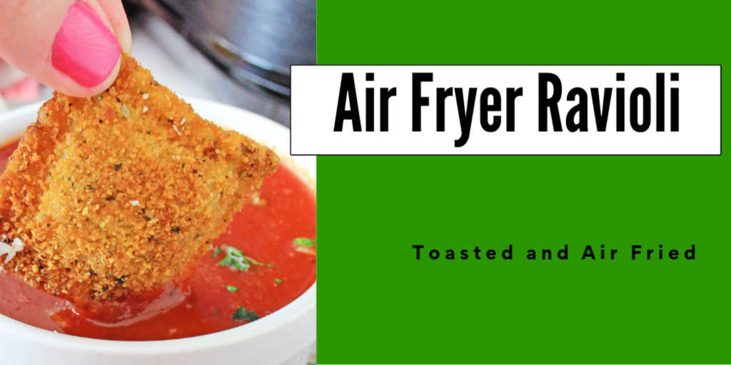 Dipping an air fried ravioli in marinara sauce with text overlay
