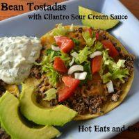 Black Bean Tostadas with Cilantro Sour Cream Sauce Recipe
