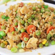 front view of a heaping plate of vegetarian fried rice