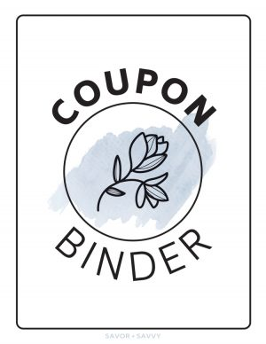 Coupon Binder Cover sheet with a light grey blue swish behind a black and white flower