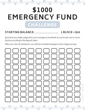 the $1000 emergency fund challenge printable with $10 blocks to fill in when completed
