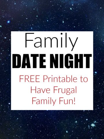 nighttime image with free family frugal fun and printable on the text box