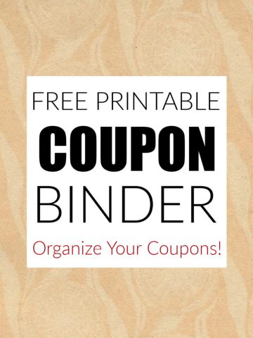free printable coupon binder text on a mottled tan background