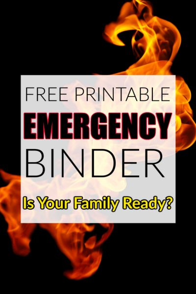 flame on a black background with a family emergency binder