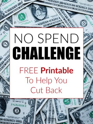 text box on background of dollar bills that reads no spend challenge and a free printable