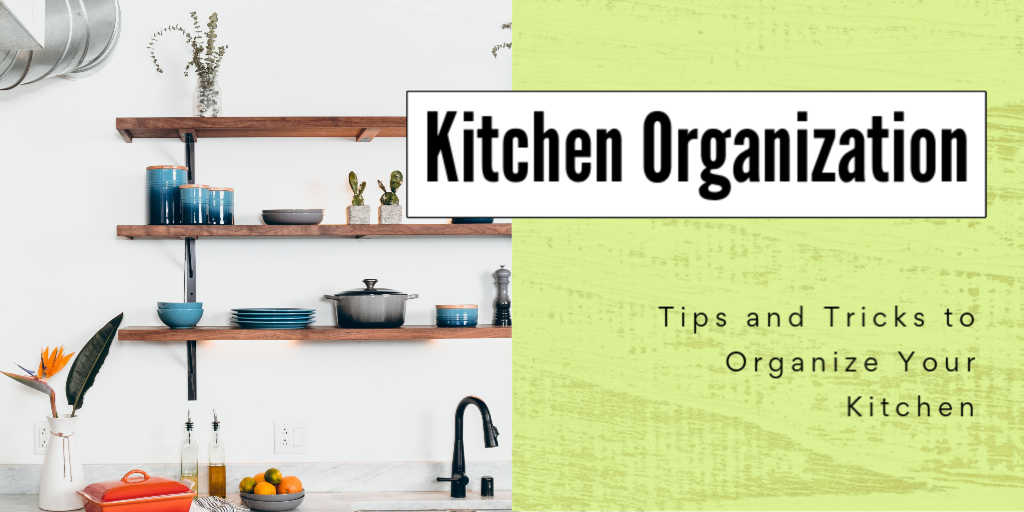 an organized shelving system in a kitchen with a text box