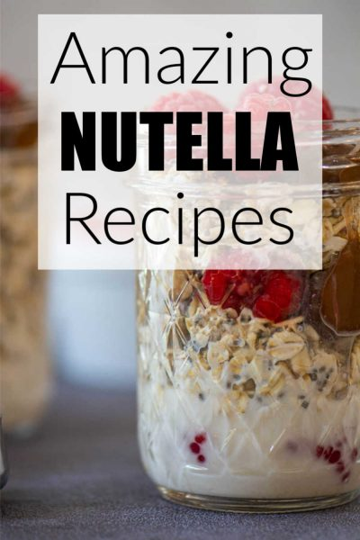 background of raspberry nutella overnight oats with a text box for more choices.