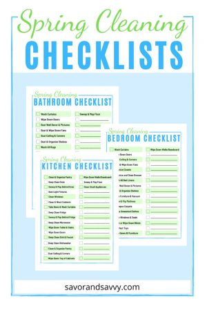 three spring cleaning checklists for the kitchen, bedroom and bathroom on a light blue background