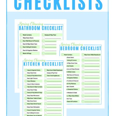 Spring Cleaning Checklist Printables – Three FREE Worksheets