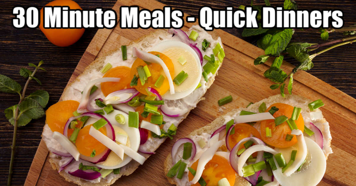 plate with vegetarian sandwiches and a text box for 30 minute meals