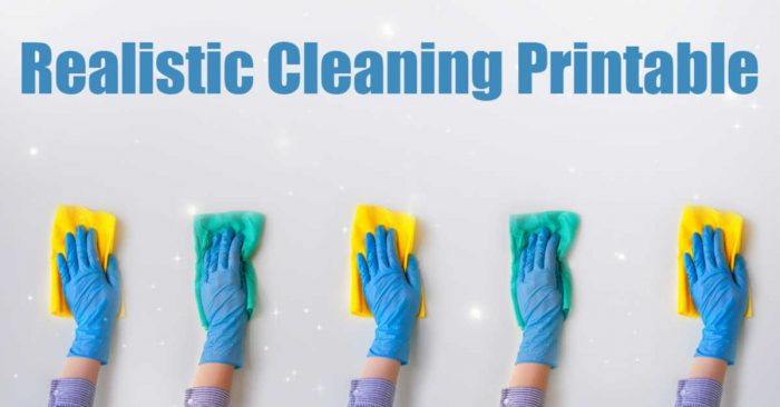 gloved hands cleaning a sparkling floor with text that reads a realistic cleaning schedule