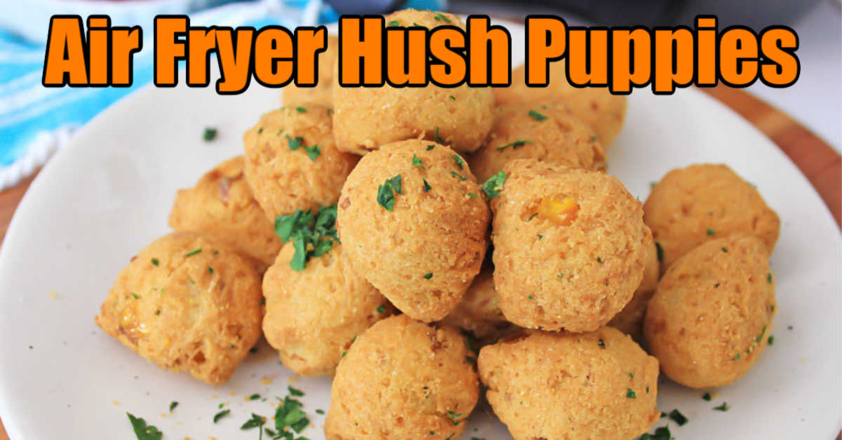 cornmeal hush puppies made in the air fryer on a plate