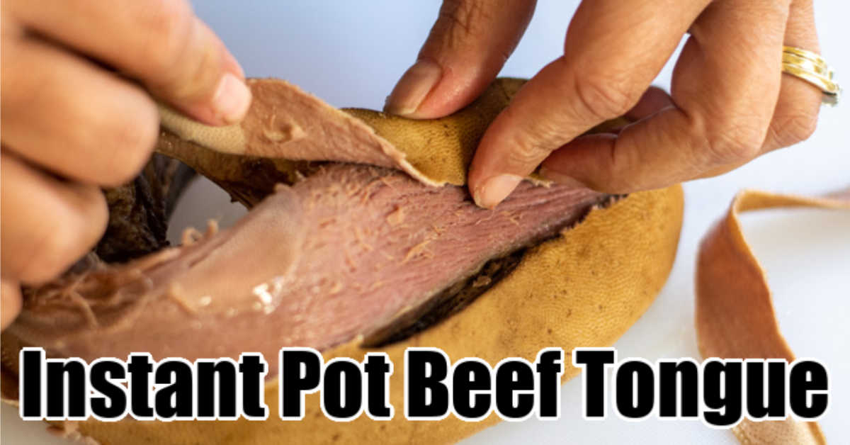 peeling the skin off of the cooked beef tongue