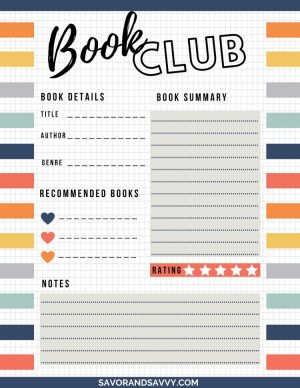 free printable to use at your book club with details of the book, the summary and notes