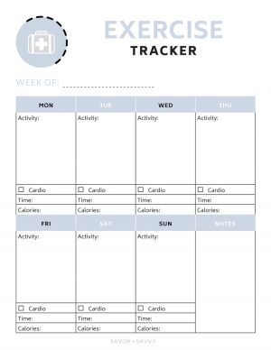 exercise tracker printable worksheet