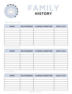 family history printable