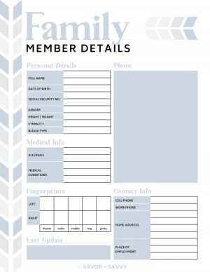 Family member details worksheet with key medical and identification information