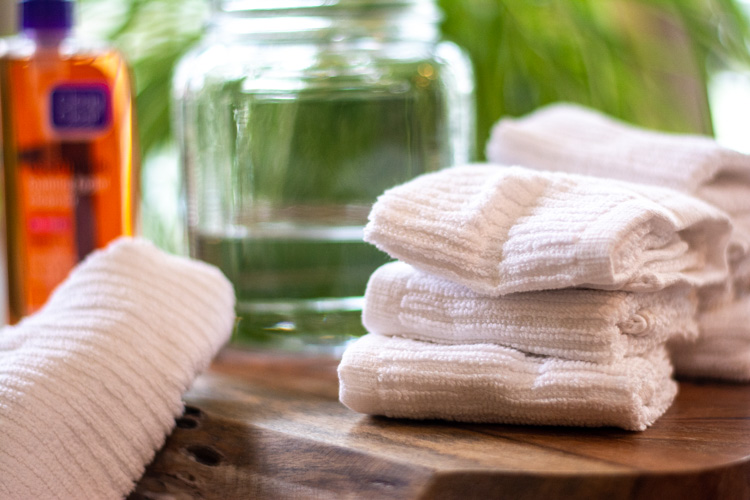 Everything you need to make diy face wipes with white wash cloths