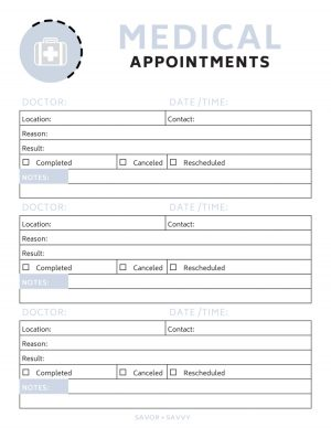 medical appointment printable in a grey and white color scheme