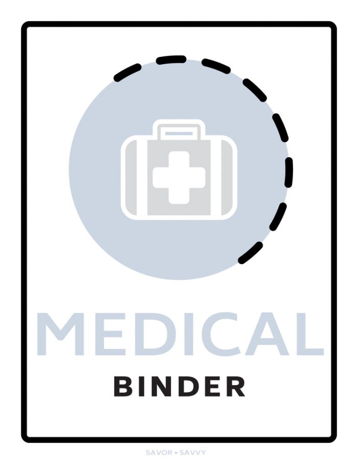 medical binder cover sheet