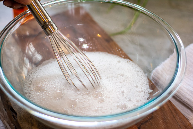 whisk the water and soap to create a foamy mix