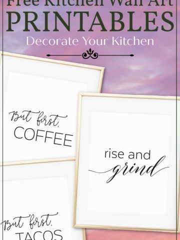 free wall art to decorate your kitchen on the cheap. On a cloudy background
