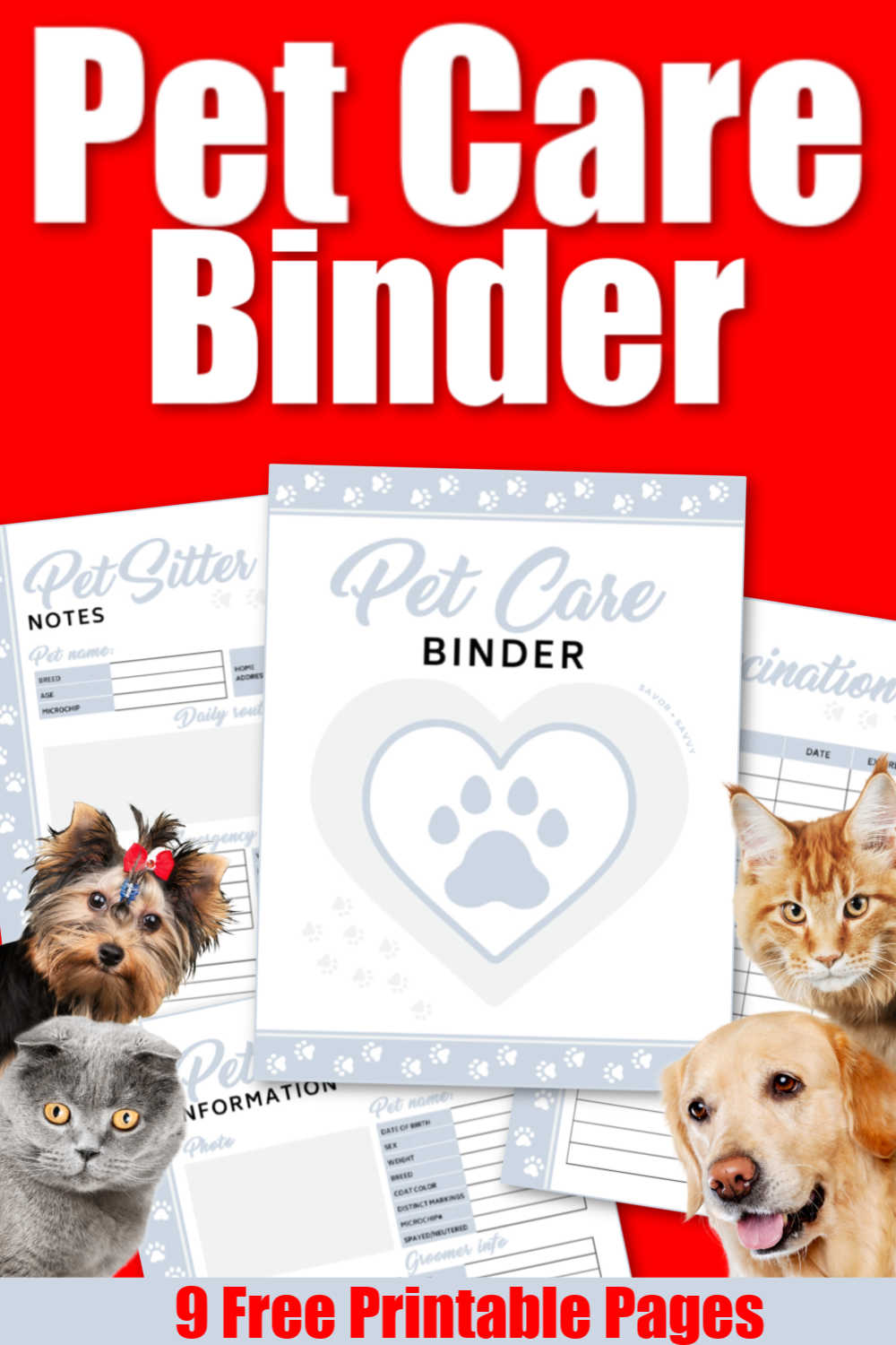 Adorable Pet Care Binder! 9 Pages of Printable Worksheets