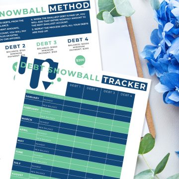 two printable pages for the debt snowball method to help you get out from under your bills