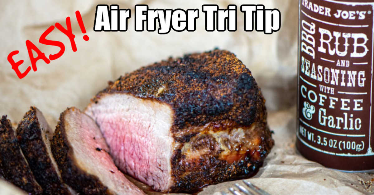 air fried tri tip sliced with a medium temperature and a bottle of trader joe's coffee rub on butcher paper