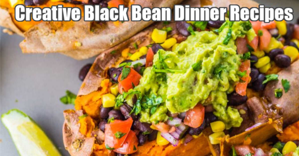 creative black bean dinner with a stuffed sweet potato
