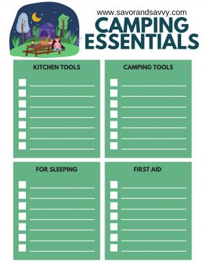 camping essential worksheet to keep track of kitchen tools, camping equipment, sleeping and first aid items