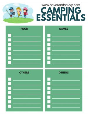 Camping essentials printable for food, games, and two sections for miscellaneous items