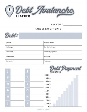 debt avalanche tracker with progress bars to help you eliminate debt from your life