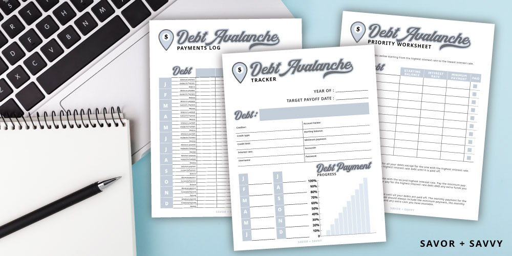 Three debt avalanche worksheets on a pale blue background