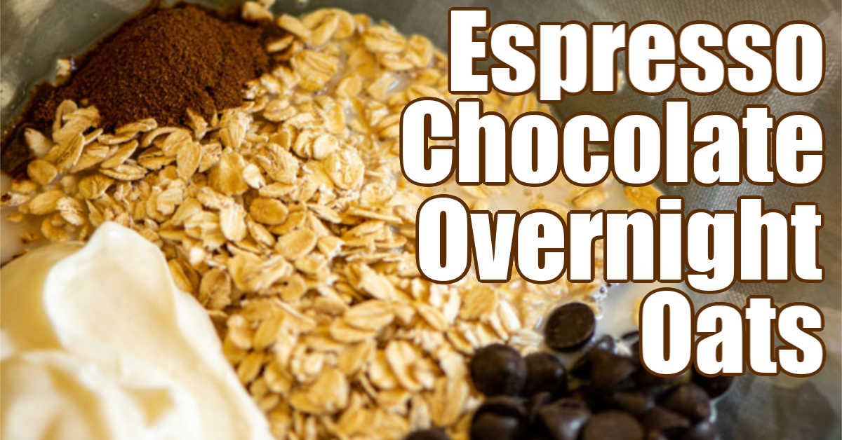 bowl of all the ingredients for espresso chocolate overnight oats