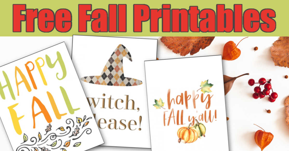 free fall printables on a green background with bright red lettering