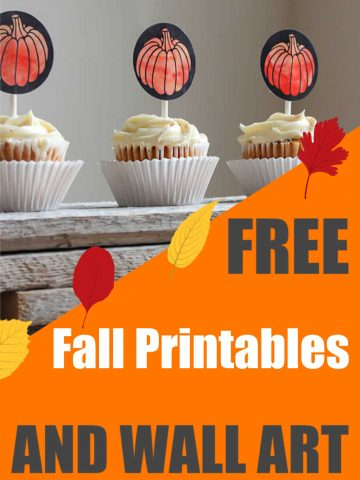 cupcake toppers and other free fall printables
