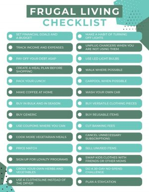 frugal living checklist with 28 ideas on how to save money