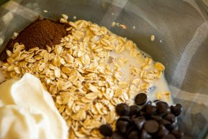 bowl of espresso overnight oats ingredients