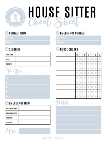 grey and white house sitter cheat sheet with sections for contact, chores, emergency info, etc