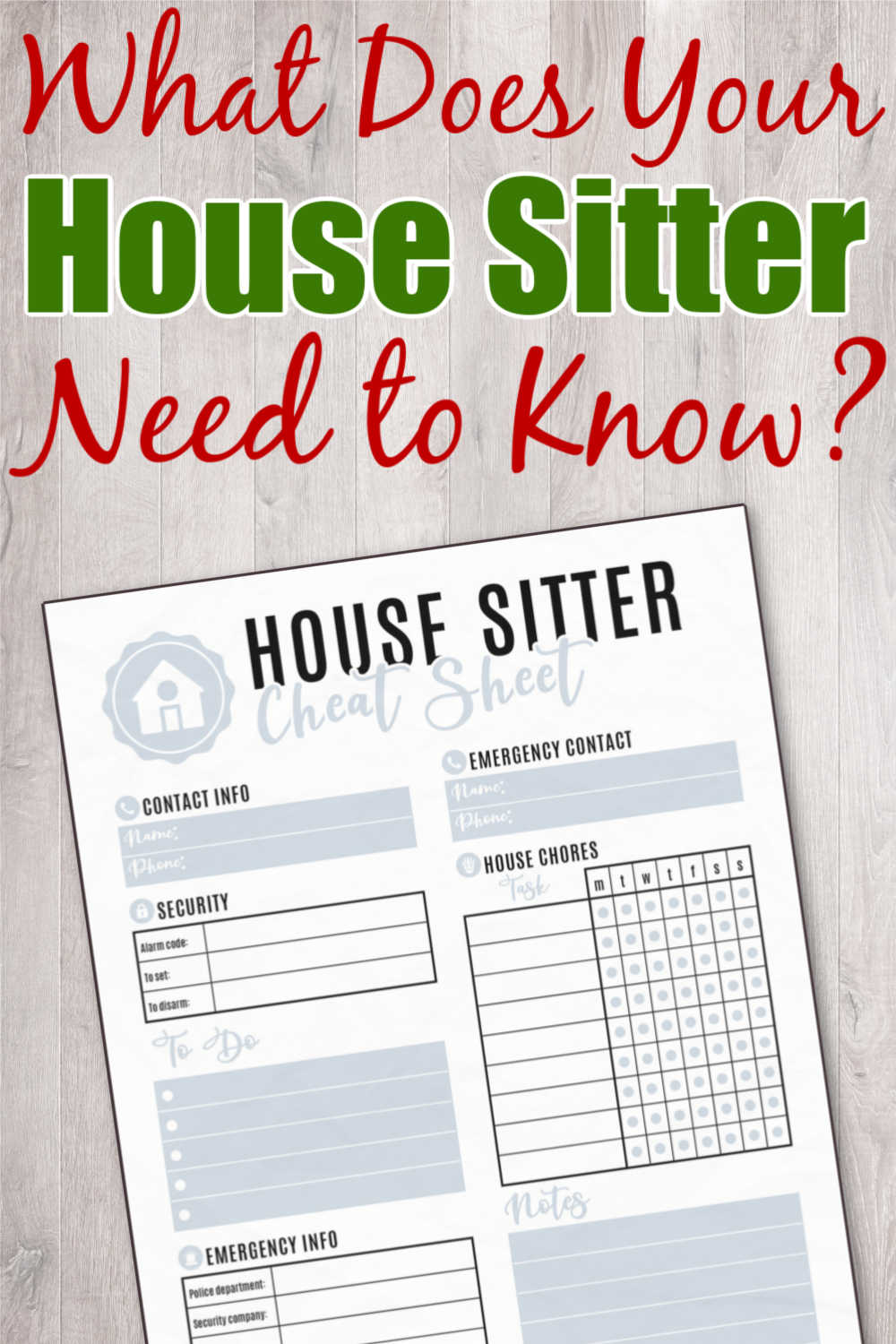 House Sitter Printable - Free Checklist For When You Are Away