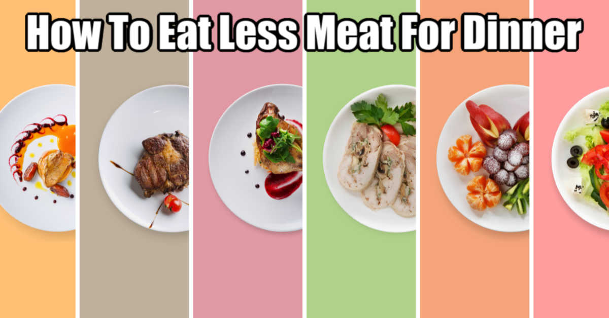 several plates with meatless meals on pastel backgrounds