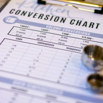Kitchen conversion chart on a clipboard in the kitchen to be used
