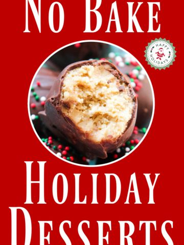 no bake peanut butter ball as a holiday dessert with text that reads no bake