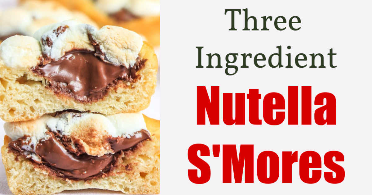 nutella smosse cups cut in half and looking extremely gooey with a text box for three ingredients