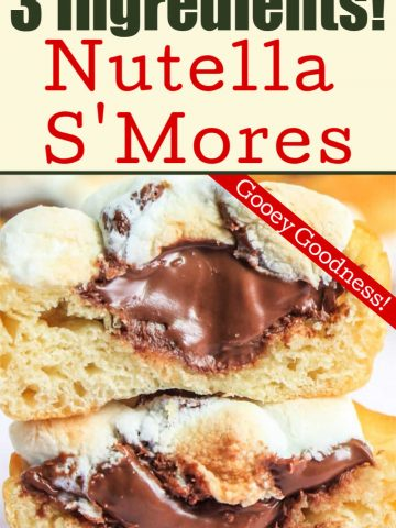 two nutella s'mores cups stacked on top of each other as a rich and gooey dessert