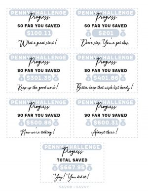 sheet of fun incentive cards to keep you motivated for the yearly penny challenge